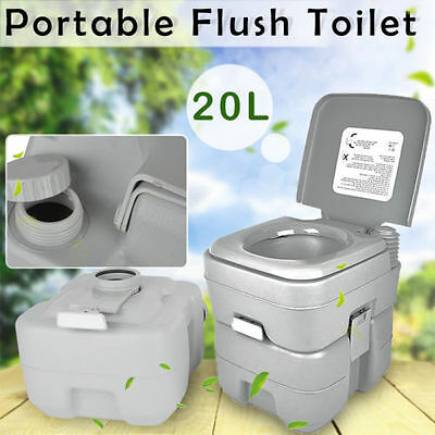 20L Portable Camping Toilet Loo Caravan Flush Travel Outdoor Potty Commode New