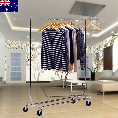 New Heavy Duty Single Pole Garment Rack Display Coat Hanger Clothes Dryer Stand