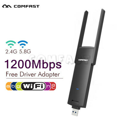 1200Mbps USB Free Driver 2.4G/5G Dual Band WLAN Stick WiFi Adapter Dongle CFDE