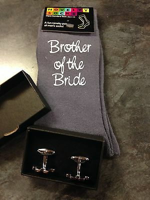 Novelty Wedding Socks,Brother of the Bride+ Puzzle piece Cufflinks (sold as set)