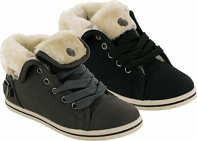 Brand New Girls Lace Up Back Buckle Fur Faux Canvas Boots