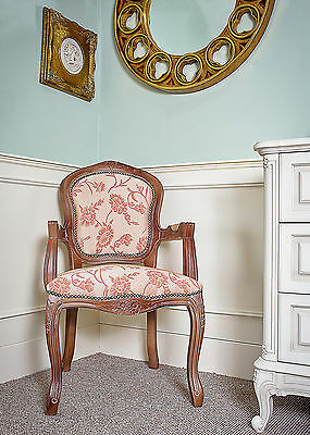 French Louis Arm Chair Mahogany Peach Shabby Chic Bed Room Antique Style Bedroom