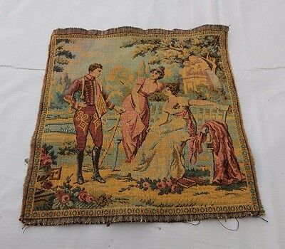 Vintage French Beautiful  Scene Tapestry 25x25cm T759