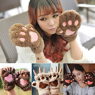Women's Bear Paw Plush Glove Winter Half Covered Soft Toweling Mittens Kawaii