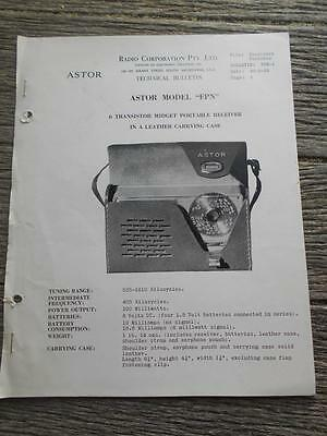 Old Radio Corporation Astor FPN 6 transistor portable radio receiver bulletin