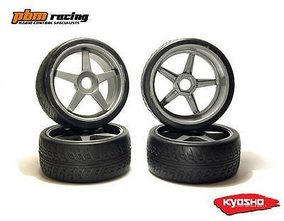 Kyosho GT 1/8 Nitro RC Wheels & Road Tyres 4pcs Gun Metal 17m Std Hex - IGTH002S
