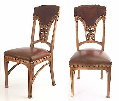 Antique Walnut tree with embossed leather chairs Art Nouveau jugendstil