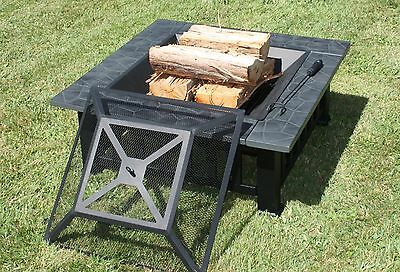 "Outdoor Open Fire Pit 32"" - Patio Wood Heater - Including Free Weather Cover"