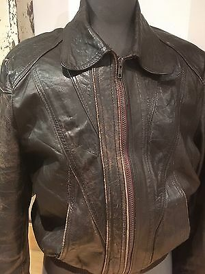 Mens Rare Vintage Leather Jacket 70s Bomber Brown Distressed Retro 90s Small 38