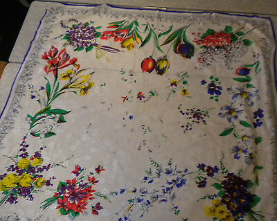Oversized vintage scarf silk satin heavy floral white made in japan 31X32