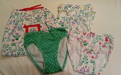 4 pairs of mini boden girls princess knickers 6-7 years and  a matching bag