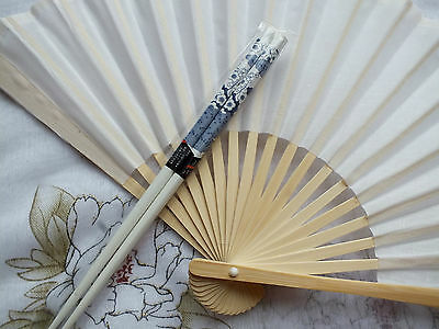 Chinese White Hand Fan Cherry Blossom Chopsticks Hair Stick Fancy Japanese Party