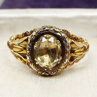 Antique 15ct Gold Georgian Ring Ornate Engraved Mount with Citrine / Size T 1/2