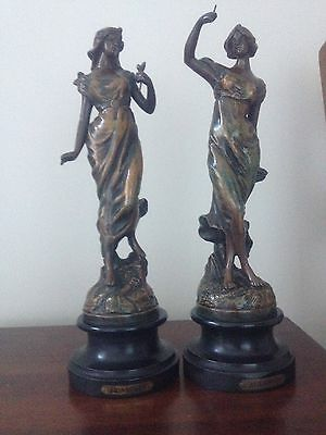 Pair of spelter figures, Printemps and Automne