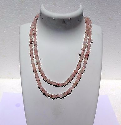 """169Cts Natural Genuine Morganite  Jewellery Chip Nugget Beads 34"""" Necklace"""
