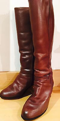 Fab RARE Vintage 70s Knee High Boots Brown Leather Fur Lined Clarks 5