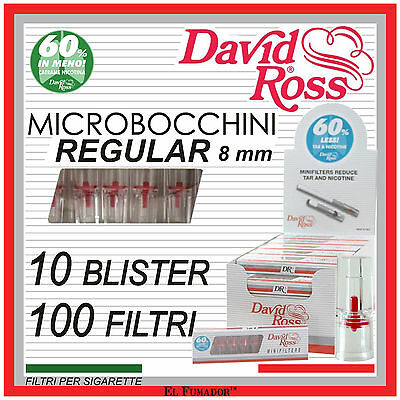 MICROBOCCHINI DAVID ROSS REGULAR 8mm 100 FILTRI SIGARETTE -CIGARETTE MINIFILTERS