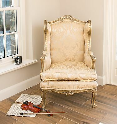French Wingback Queen Ann Arm Gold Damask Shabby Chic Bedroom Hallway Chair