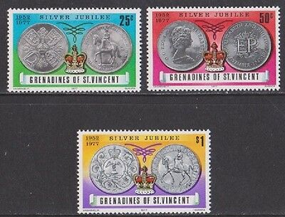 Grenadines of St. Vincent. 1977. SG93/5, 25c to $1 SilverJubilee. MNH. As photo.
