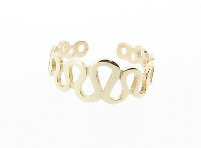 9ct Yellow Gold Wavy Band Toe Ring - Made in England Hand Finished *RRP £44.99*