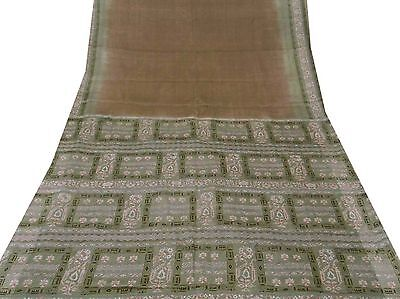 Vintage Indian Saree Art Silk Printed Fabric Decor Craft Floral Brown Sari 5YD