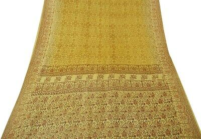 Indian Vintage Craft Saree Art Silk Printed Fabric Decor Sarong Used Brown Sari