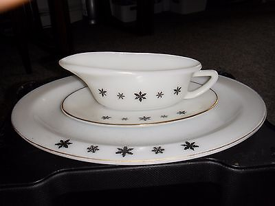 "Pyrex vintage JAJ ""white snowflake"" oval platter/ gravy and stand"