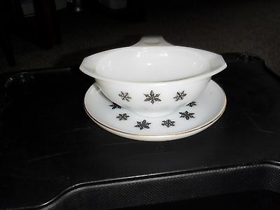 "Pyrex vintage JAJ ""white snowflake"" sauce boat and stand"