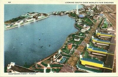 """1933 COP 107 """"Looking South Over World's Fair Grounds"""" Postcard"""