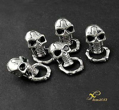 5PCS Screw Back Sliver Tone Skull With Ring Biker Chain Wallet Connector Joint