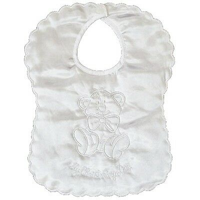 White Satin My Christening Day Bib with Teddy Bear Embroidery