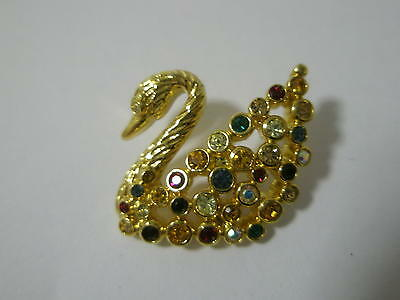 Swarovski Crystal Scs Multi Coloured Swan Pin Brooch New Signed