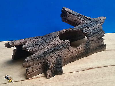 Aquarium Ornament Half Log Tree Bark Cave Hide Decoration Fish Tank 3 Sizes