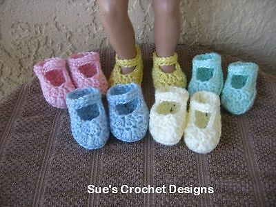 Crochet Doll Shoes For American Girl And Bitty Baby - Lot 2