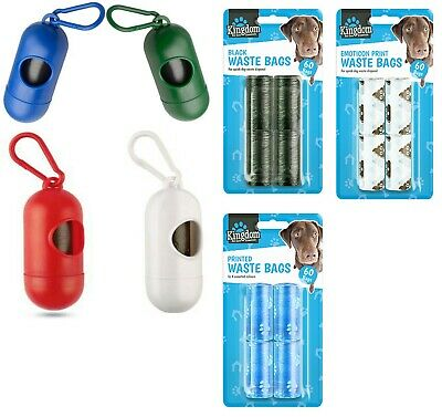 Dog Waste Poo Sacks Dispenser With Bags and Lead Clip Attachment Holder Walking