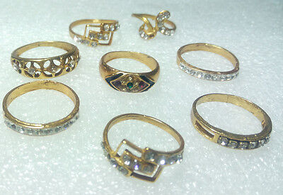 Rings Indian 8 Pieces Lot Gemstone Handmade Gold Plated New Mughal Jewelry 4007