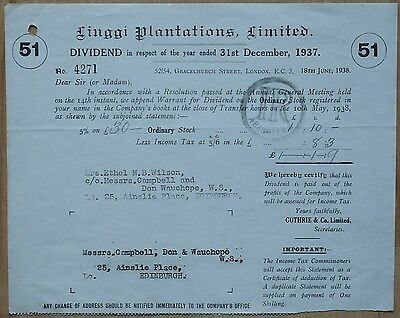 Linggi Plantations Limited. dividend certificate 1937 No:4271