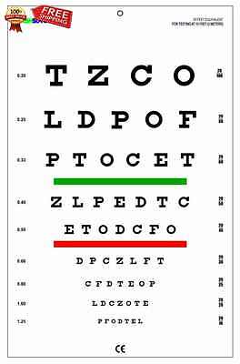 Snellen Chart with Red Green Lines 10 Feet