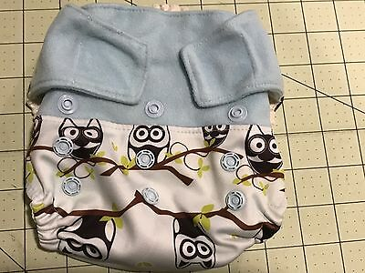 Grovia Owl Diaper Shell One Size Velcro Hard To Find Blue Cute