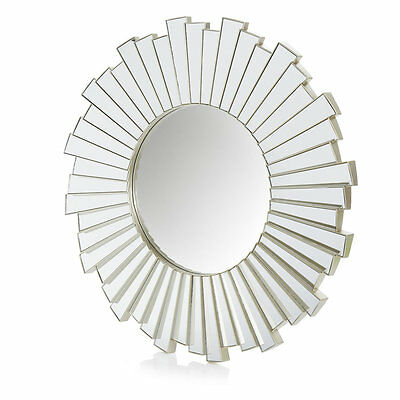 All Glass Large 52cm Silver Sunburst Mirrored Wall 3D Mirror Round Bathroom Room