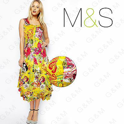 M&S Yellow Floral Midi Vintage Dress Evening Womens Ladies Rockabilly Size 8