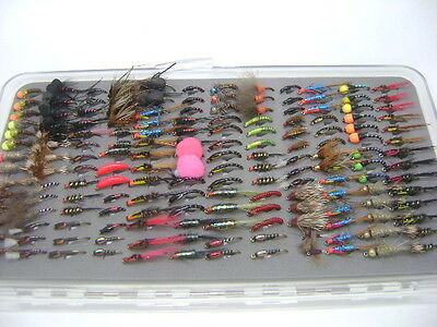 Winter Collection Trout Fishing Flies - Boxed Set Of 168 + FullingMill Fly Box