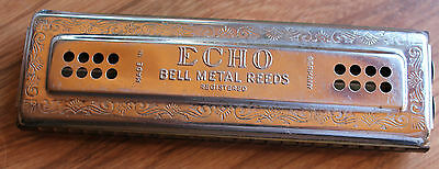 HARMONICA HOHNER ECHO BELL METAL REEDS fabrication allemande BE à TBE