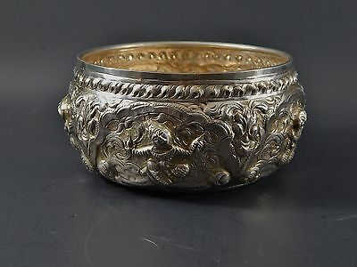 Signed Burmese Siamese Thai Asian Silver Repousse Metal Bowl 154 Grams Antique ?