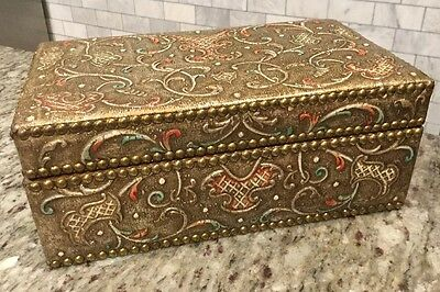LARGE Antique Embossed Italian Gilt Tooled Leather Desk Jewelry Box Nail Heads