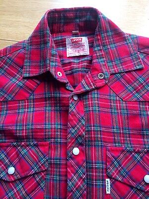 """Vintage 70s/80s Levi's Red Check Flannel Cotton Shirt 8/10 36"""" Chest -Made in GB"""