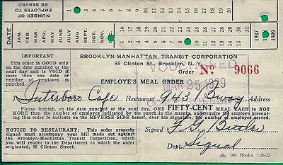 1929 Brooklyn-Manhattan Transit Corp. Employe's Meal Ticket w/date