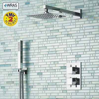 Concealed Thermostatic Chrome Shower Mixer Valve Thin Overhead 2 Way 2 Handles