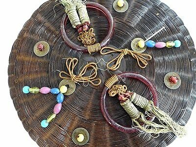"Antique Chinese lge 12"" sewing basket, beads tassels 2 rare lge red Peking Glass"