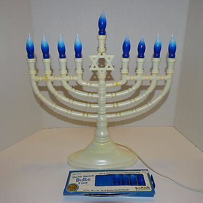 Star Bright Hanukkah Chanukah Deluxe Electric Menorah Blue Blubs with white tips